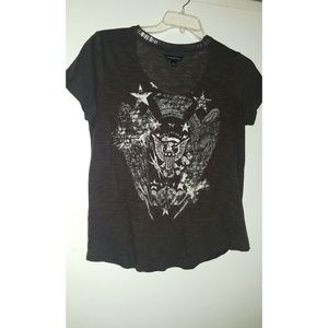 Rock & Republic Stud Cutout Neckline Tee